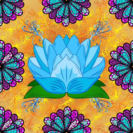 asiatic: Oriental pattern yellow curl background with blue lotus. Mandala.