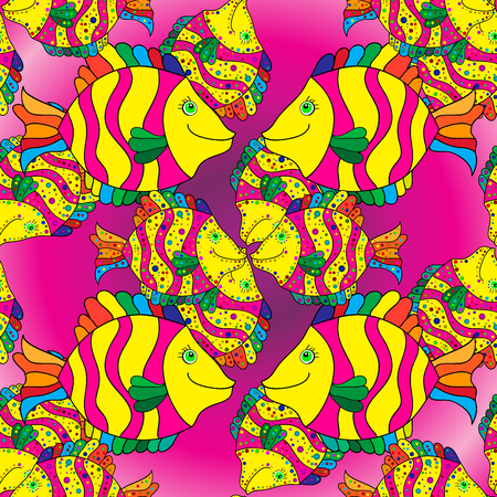 butterflyfish: Doodles colorful fishes on pink background.