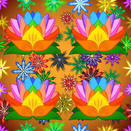 Decorative vintage pattern with colorful lotus and flowers on yellow and golden round background. Vector background Illustration