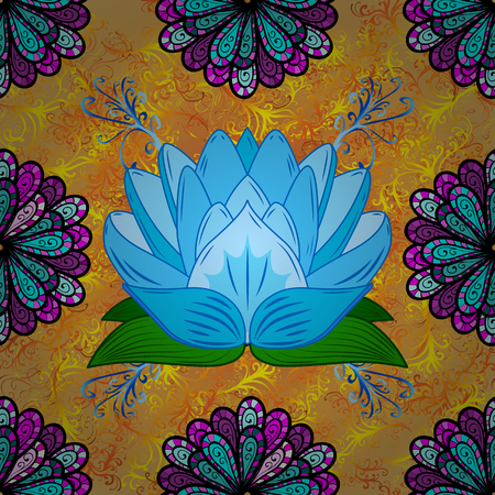 asiatic: Oriental pattern yellow curl background with blue lotus. Mandala. Vector illustration.