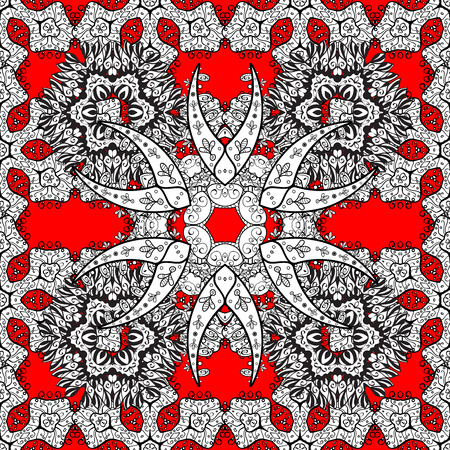 gray pattern: Vintage pattern on red background with white floral elements. Stock Photo