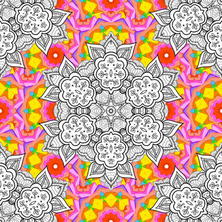 brawn: seamless pattern with hand drawn doodle mandala. Indian tribal ornament. Yellow, pink, brawn and white colors. Colorful ethnic background.