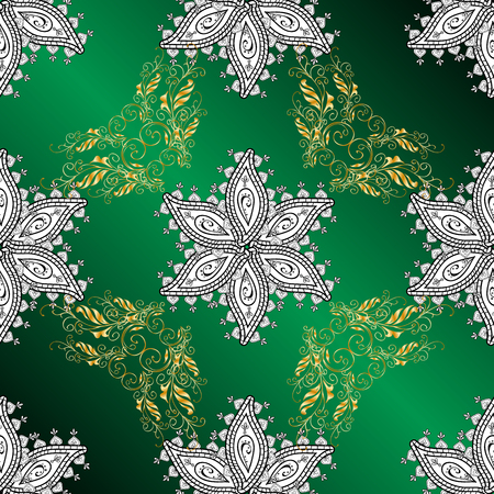 invented: Floral pattern. Vector seamless green background with white and golden elements.