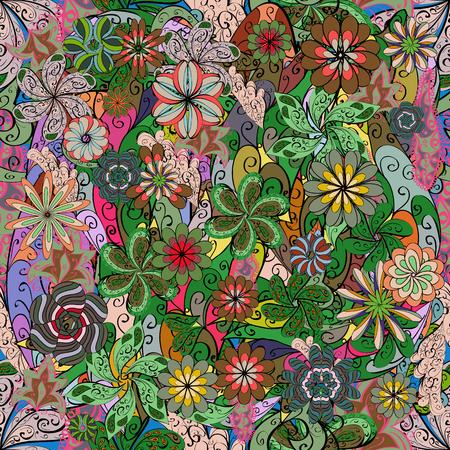 Illustrazione vettoriale di seamless con fiori colorati.