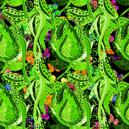 swill: seamless floral background green tone. Vector illustration.