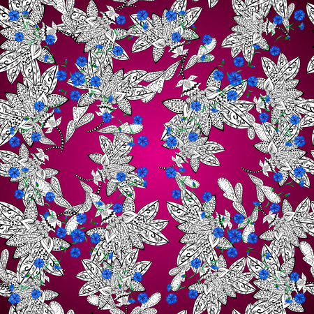 purpule: Ornaments from the colorful mandala blue, pink and white a seamless pattern on a round gradient purpule background.