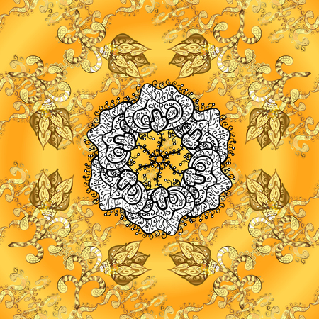 vintage pattern on ogange, yellow on gradient background with white mandala and golden pattern elements.