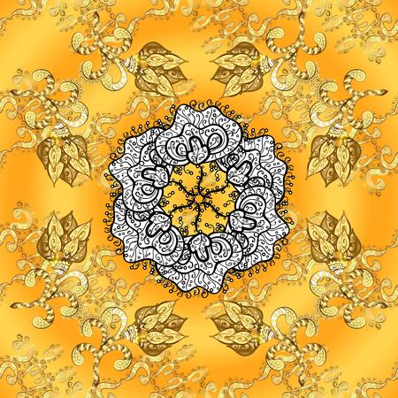 Weinlesemuster auf ogange, Gelb auf Steigungshintergrund mit weißem Mandala und goldenen Musterelementen. Standard-Bild - 61303538