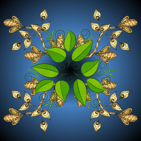 green swirl: Blue gradient blue background with golden swirl and green leaves. Vector illustration. Illustration