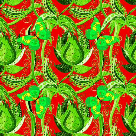 reb: Bright green vintage doodle flowers on reb background. Stock Photo
