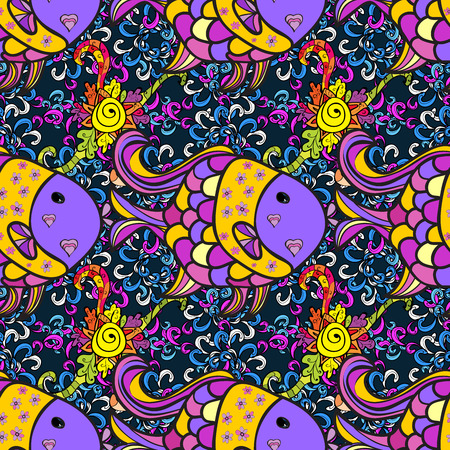 attern: ?attern with colorful fish on floral background.