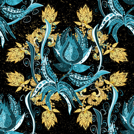 Vintage pattern on black background with golden and blue gradient elements. Stock Photo