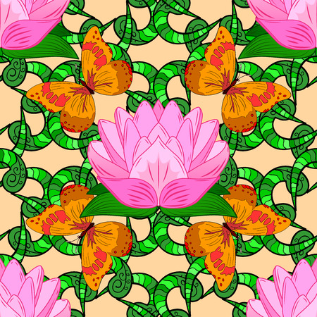 Seamless pattern of orange butterfly and green stripe doodles and pink lotus.