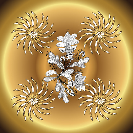 vintage pattern on round yellow and golden gradient background with white elements. Illustration