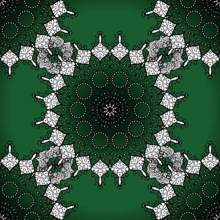 lime green: Seamless mandala pattern in green, white on lime green background. Illustration