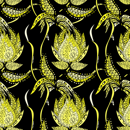 Seamless texture with yellow gradient flowers on black background. Seamless pattern.