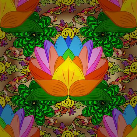 Colorful lotus flowers. Seamless background. Vector illustration. Illustration