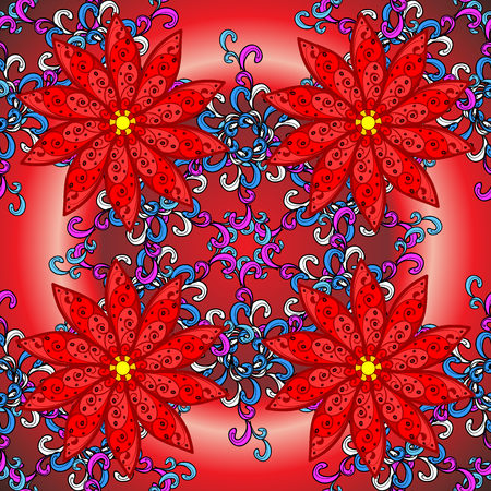 red radial gradient background with vintage filigree floral pattern. Stock Photo