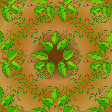sacramental: Abstract pattern on yellow background with green leaves elements. Pattern background.