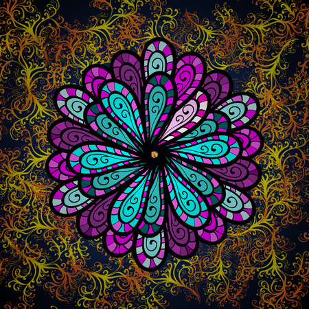 Vector boho chic flower seamless pattern. Mandala design element on yellow and orange dark pattern background. Vector illustaration.