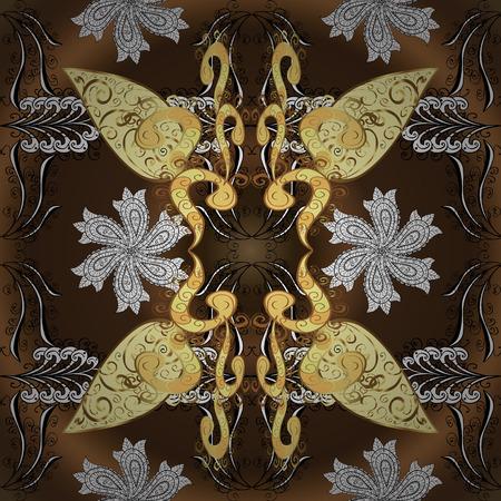 dark brown background: Seamless vintage pattern on dark brown background with white floral elements.