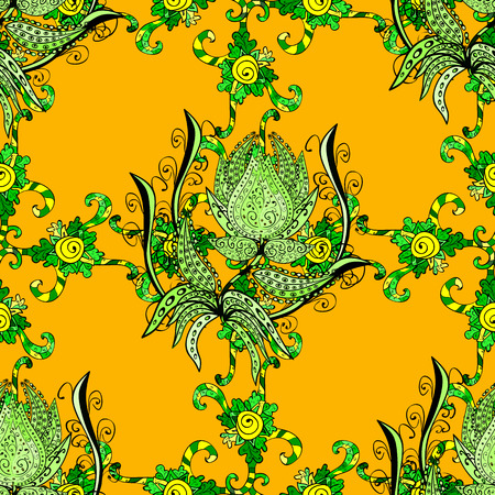 doodled: Seamless VECTOR doodle pattern, green doodles flower ornament on yellow background.