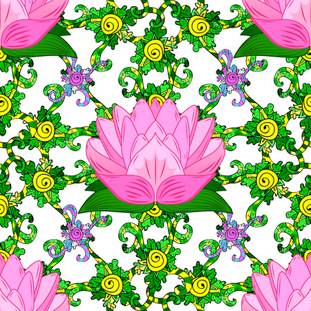 rosy: rosy lotus lilies decorative floral element on white background. vector illustration