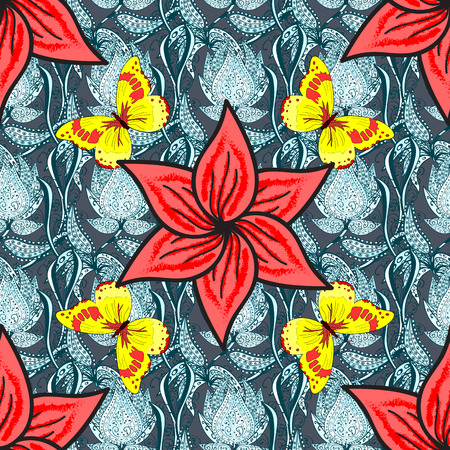 mariposas amarillas: Seamless vintage pattern on blue floral background with yellow butterflies.