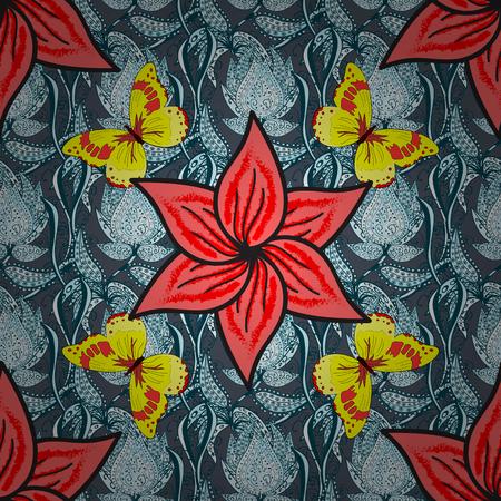 mariposas amarillas: patrón de la vendimia sin fisuras en el fondo floral azul con mariposas amarillas. Vectores