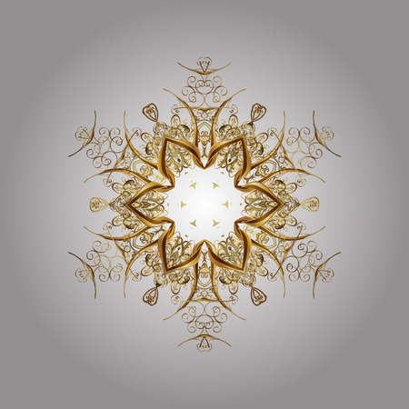 oriental vector: Oriental vector pattern with floral elements. Abstract golden ornament