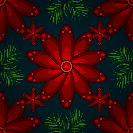 poppy leaf: Seamless vector pattern of red poppy with green leaf on deep blue background