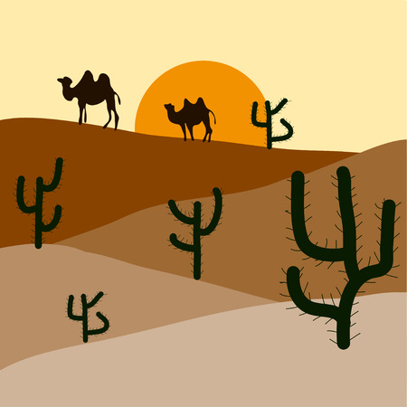 yellow sky: Silhouette of blooming cactuses and western desert on the background of light yellow sky. Illustration