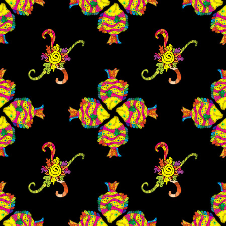 colorful fish: Seamless pattern with colorful fish on black background. Vector illustration.