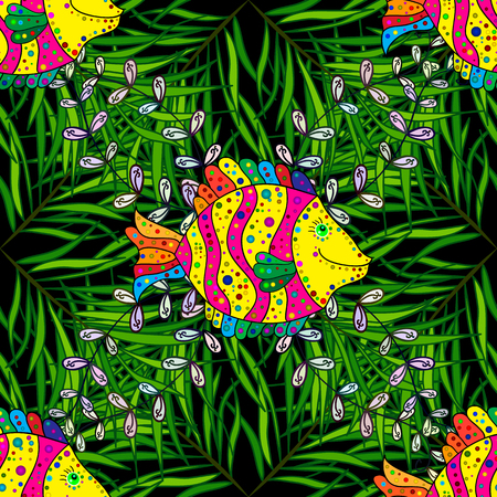 Seamless pattern with colorful fish on green and black background. Vector illustration.