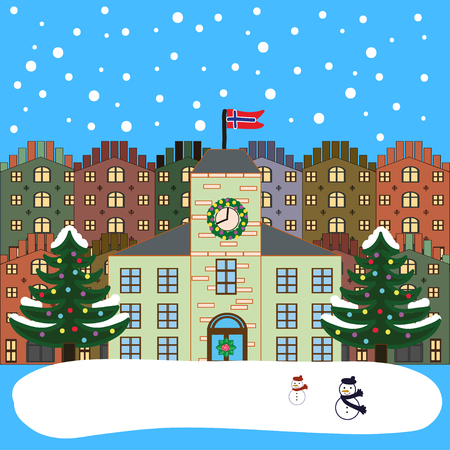 norwegian flag: Winter city flat landscape. Colored vector illustration. Norway. Norwegian flag Illustration