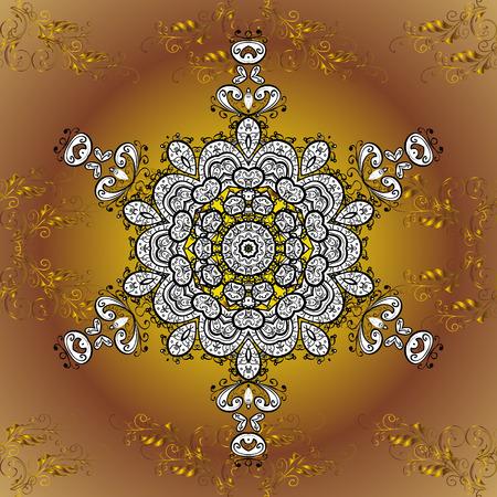mandalas: Oriental pattern of mandalas. Vector golden round gradient background.