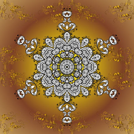 Oriental pattern of mandalas. Vector golden round gradient background.