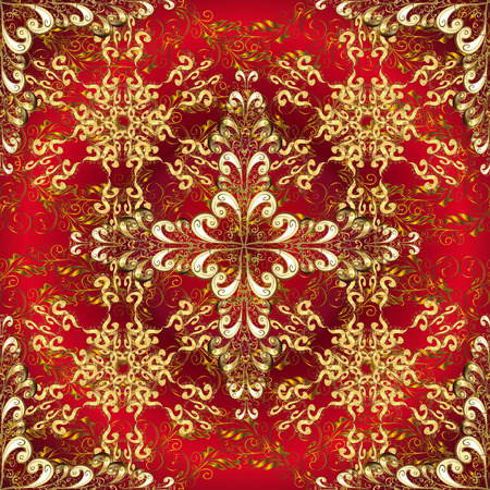 Abstract beautiful background with golden and white floral elements on dark red radial background. Illustration