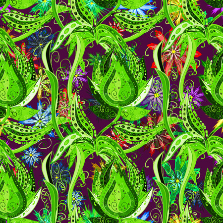 moonflower: Doodles green flowers on colorful floral background. Vector.