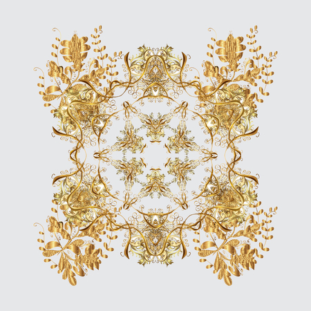 Oriental vector pattern with floral elements. Abstract golden ornament