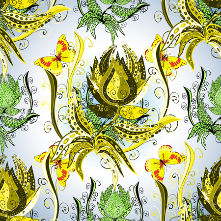 mimosa: Hand drawn seamless pattern with spring tender flowers - yellow mimosa on the white background