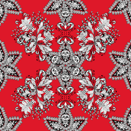 Pattern with white doodles and mandala flowers on red background. Vector illustration.