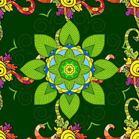 Eco Design of a Leaf Mandala on green background. Vector.