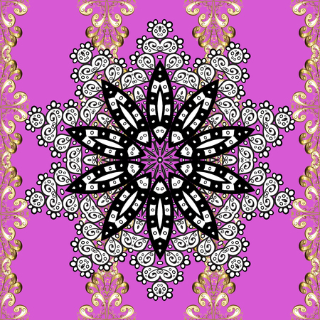 Seamless vintage pattern on lilac background with white floral elements.