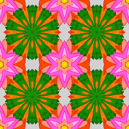 Seamless floral mandala pattern in pink, turquoise green and pale orange on floral pink and white background.