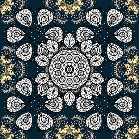 dark blue: Seamless vintage pattern on dark blue background with golden elements.