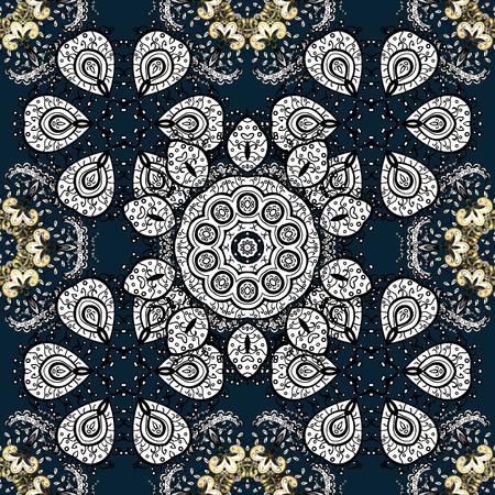 Seamless vintage pattern on dark blue background with golden elements.