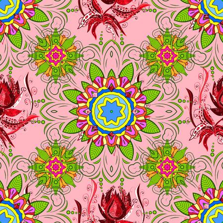 elaborate: Vector boho chic flower seamless pattern. Elegant floral background for wallpaper, gift paper, fabric print, furniture, curtains. Mandala design element. Unusual flourish ornament. Pink, lilac, purple