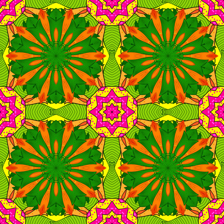 Seamless floral mandala pattern in pink, turquoise green and pale orange on floral green background.