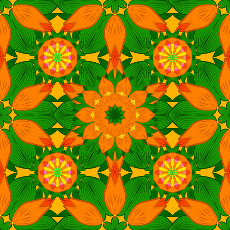 raster artistic: Seamless texture illustration with orange and green background. Vector.